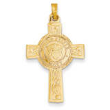 Cross with Navy Insignia Pendant 14k Gold REL112
