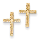 Cross Earrings 14k Gold Polished & Textured REL171