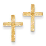 Heart Cross Earrings 14k Gold Polished & Satin REL175