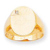 Oval Face Hollow Back 16.9x13 Signet Ring Mounting 14k Gold Polished RS175