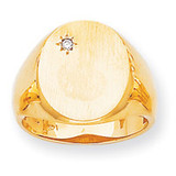 Oval Face Hollow Back 17.3x13.4 Signet Ring Mounting 14k Gold Polished RS176
