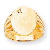 Oval Front Grooved Band Hollow Back 17x13.4 Signet Ring Mounting 14k Gold RS177