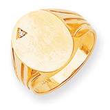 Grooved Band Hollow Back 17x13.4 Diamond Signet Ring 14k Gold RS177AA