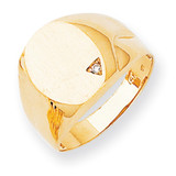 Hollow Back 14.8x11.3 Completed Diamond Signet Ring 14k Gold Polished RS179AA