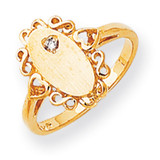 Fancy Polished 12.6x6.3 Hollow Back Diamond Signet Ring Mounting 14k Gold RS232