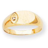 Oval Top 7.1x11 Hollow Back Signet Ring Mounting 14k Gold Polished RS272