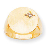 Circular Top 17.5x17.6 Solid Back Signet Ring Mounting 14k Gold Polished RS298