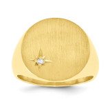 Circular Top 17.5x17.6 Solid Back Complete Diamond Signet Ring 14k Gold RS298AA