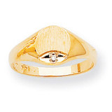 Circular Top 7.9x6.7 Solid Back Signet Ring Mounting 14k Gold Polished RS299