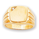 Grooved Band Hollow Back 12x12.1 Squared Signet Ring Mounting 14k Gold RS395