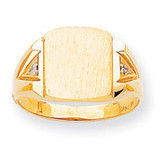 Squared Top Hollow Back 12.6x11 Signet Ring Mounting 14k Gold Polished RS396