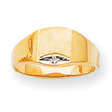 Solid Back 8.1x6.8 Diamond Signet Ring Mounting 14k Gold Polished RS399
