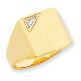 Squared Top Solid Back 15x12.8 Diamond Signet Ring Mounting 14k Gold RS458
