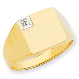 Squared Top Solid Back 12.1x12.1 Diamond Signet Ring Mounting 14k Gold RS459