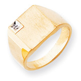 Diamond Solid Back Mens Signet Ring 14k Gold RS459AA