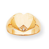 Heart .005ct. Diamond Solid Back 9.3x9.5 Signet Ring Mounting 14k Gold RS513