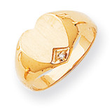 Heart Diamond Signet Ring 14k Gold RS513AA