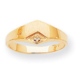 Pointed Top Hollow Back 7.3x6.9 Signet Ring Mounting 14k Gold RS530