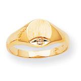 Circular Top Hollow Back 8x6.6 Signet Ring Mounting 14k Gold Polished RS531