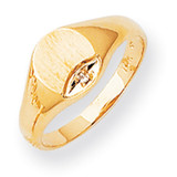 Circular Top Hollow Back 8x6.6 Complete Diamond Signet Ring 14k Gold RS531AA