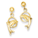 Dolphin Earrings 14k Gold S1125