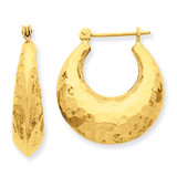 Hammered Fancy Hollow Hoop Earrings 14k Gold S1441