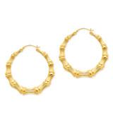 Bamboo Hoop Earrings 14k Gold Polished S1518