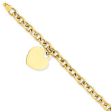 Heart Charm Hollow Bracelet 7.25 Inch 14k Gold SF1510-7.25