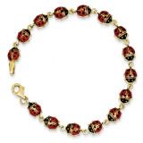 Enamel & Resin Ladybug Bracelet 7 Inch 14k Gold SF1518-7