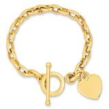 Heart Charm Bracelet 7.5 Inch 14k Gold SF153-7.5