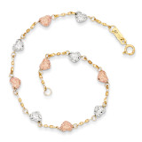 Puff Heart Bracelet 7 Inch 14k Tri-Color Gold SF1832-7