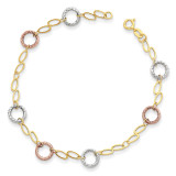 Circles Bracelet 7.25 Inch 14k Tri-Color Gold SF1840-7.25