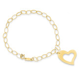 Dangle Heart Bracelet 7.25 Inch 14k Gold SF1856-7.25