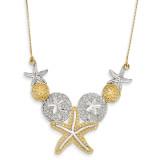 Diamond-cut Sea Life Necklace 18 Inch 14K Gold & Rhodium SF2075-18