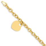 Heart Charm Bracelet 7.5 Inch 14k Gold SF372-7.5