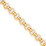 6.25mm Polished Fancy Rolo Link Bracelet 7.5 Inch 14k Gold SF418-7.5