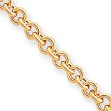 5mm Polished Fancy Rolo Link Bracelet 7.5 Inch 14k Gold SF420-7.5