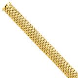 13.75mm Polished Mesh Bracelet 7.25 Inch 14k Gold SF598-7.25