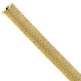 18.75mm Polished Mesh Bracelet 7.25 Inch 14k Gold SF600-7.25