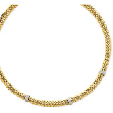0.05ct Completed Polished Diamond & Mesh Necklace 17 Inch 14k Two-Tone Gold SF607-17