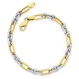 Fancy Link Bracelet 7.5 Inch 14k Two-Tone Gold SF966-7.5