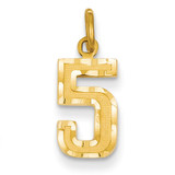 Casted Small Diamond Cut Number 5 Charm 14k Gold SN05
