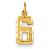 Casted Small Diamond Cut Number 6 Charm 14k Gold SN06
