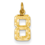 Casted Small Diamond Cut Number 8 Charm 14k Gold SN08