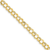 Lite 7mm Triple Link Charm Bracelet 7.25 Inch 14k Gold SST1-7.25