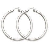 4mm Lightweight Round Hoop Earrings 14k Gold Polished T865L