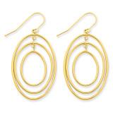 3 Ring Dangle Wire Earrings 14k Gold TC489