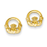 Claddagh Post Earrings 14k Gold TC556