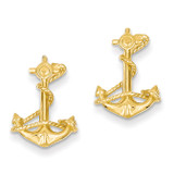 3-D Anchor with Rope Post Earrings 14k Gold TC564