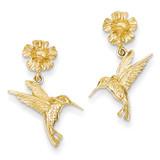 Hummingbird Dangles from Flower Post Earrings 14k Gold TC624